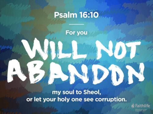 Il Cristo che domina la morte, Salmo 16 e Atti 2 e 13